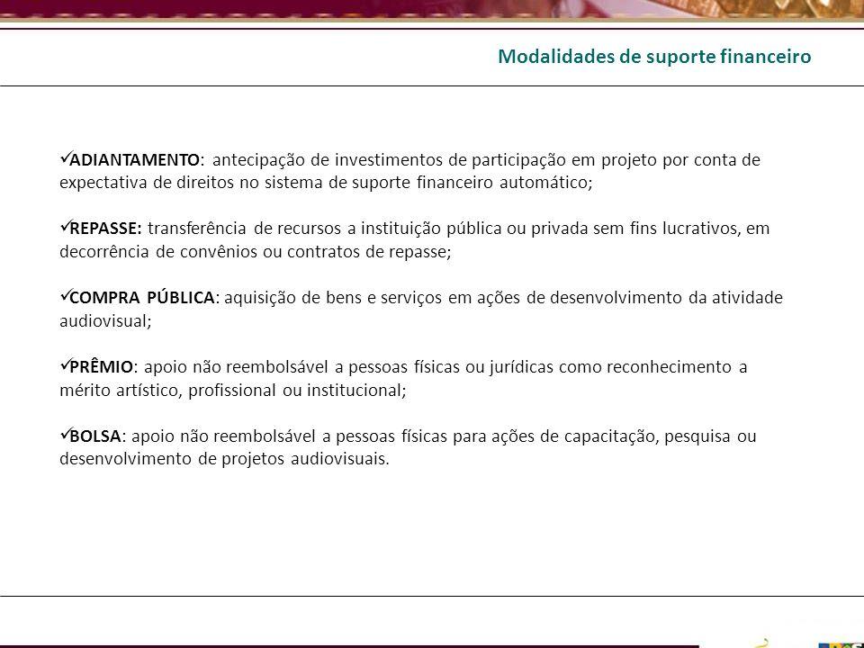 ADIANTAMENTO: antecipação de investimentos de participação em projeto por conta de expectativa de direitos no sistema de suporte financeiro automático
