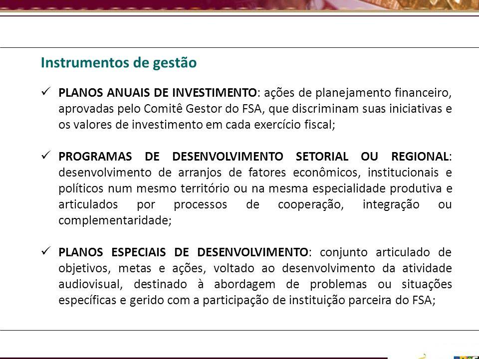 Instrumentos de gestão PLANOS ANUAIS DE INVESTIMENTO: ações de planejamento financeiro, aprovadas pelo Comitê Gestor do FSA, que discriminam suas inic