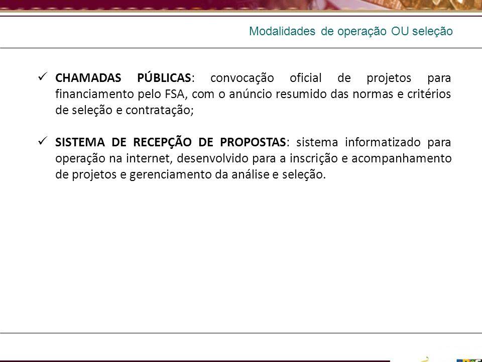 CHAMADAS PÚBLICAS: convocação oficial de projetos para financiamento pelo FSA, com o anúncio resumido das normas e critérios de seleção e contratação;