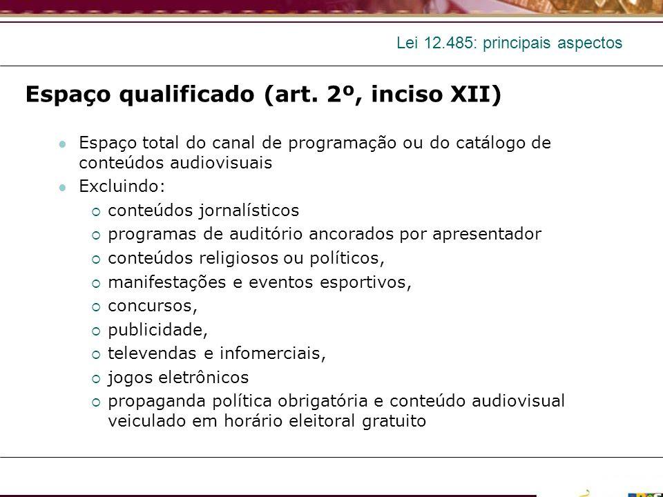 Lei 12.485: principais aspectos Espaço qualificado (art. 2º, inciso XII) Espaço total do canal de programação ou do catálogo de conteúdos audiovisuais