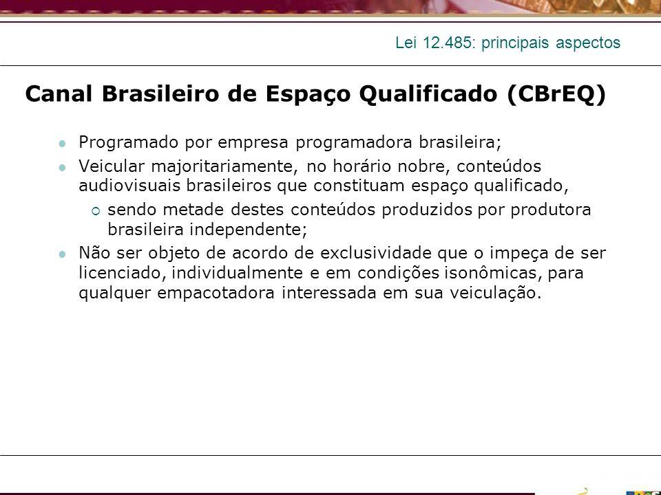 Lei 12.485: principais aspectos Canal Brasileiro de Espaço Qualificado (CBrEQ) Programado por empresa programadora brasileira; Veicular majoritariamen