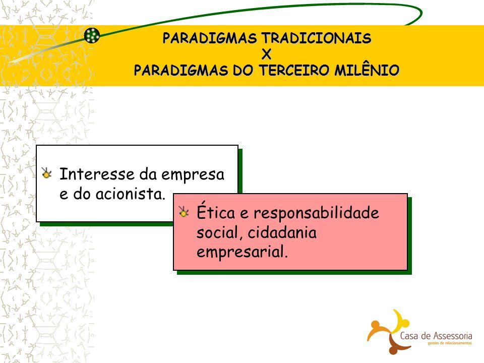 PARADIGMAS TRADICIONAIS X PARADIGMAS DO TERCEIRO MILÊNIO Interesse da empresa e do acionista. Ética e responsabilidade social, cidadania empresarial.