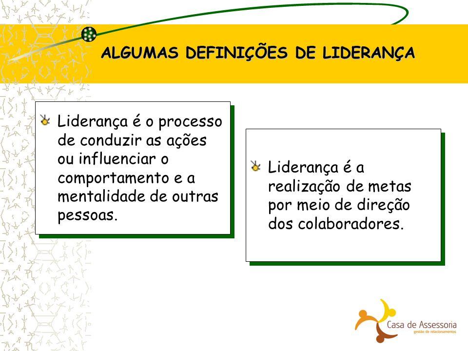 ALGUMAS DEFINIÇÕES DE LIDERANÇA Liderança é o processo de conduzir as ações ou influenciar o comportamento e a mentalidade de outras pessoas. Lideranç