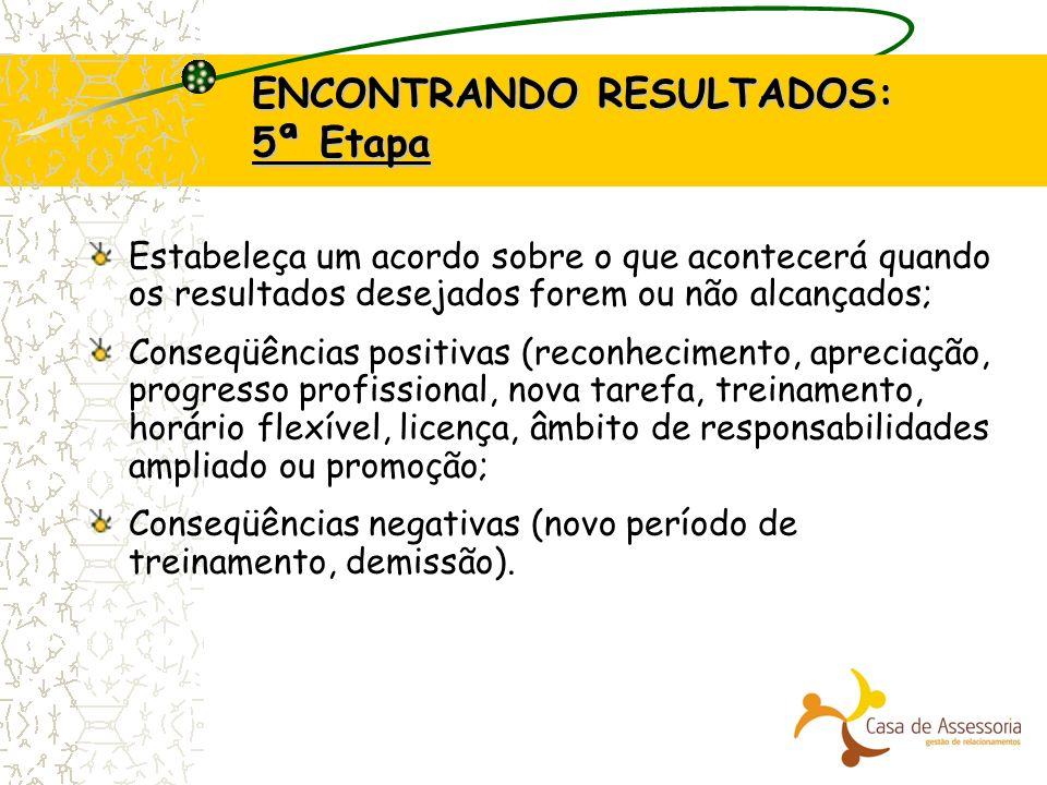 ENCONTRANDO RESULTADOS: 5ª Etapa Estabeleça um acordo sobre o que acontecerá quando os resultados desejados forem ou não alcançados; Conseqüências pos