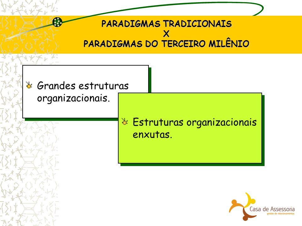 PARADIGMAS TRADICIONAIS X PARADIGMAS DO TERCEIRO MILÊNIO Grandes estruturas organizacionais. Estruturas organizacionais enxutas.