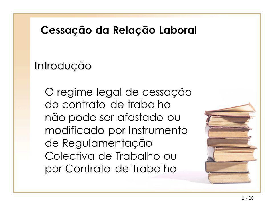 / 203 Cessação da Relação Laboral O contrato de trabalho pode cessar por: –Caducidade; –Revogação; –Resolução; –Denúncia.