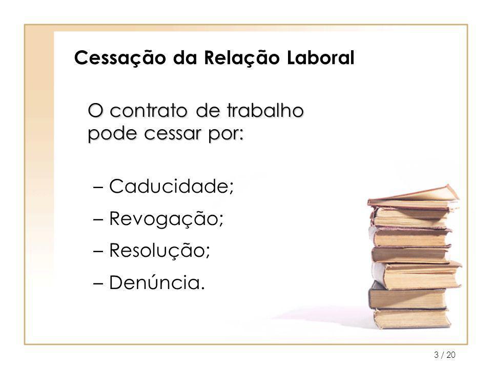 / 204 Cessação da Relação Laboral Caducidade Por termo do contrato; Impossibilidade do trabalhador; Reforma ou invalidez.