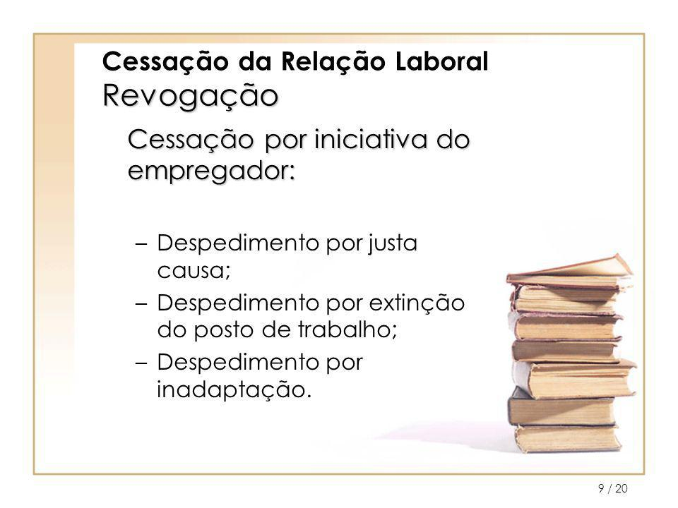 / 2010 Revogação por justa causa Cessação da Relação Laboral Revogação por justa causa Despedimento por justa causa, ocorre quando há comportamento culposo do trabalhador.