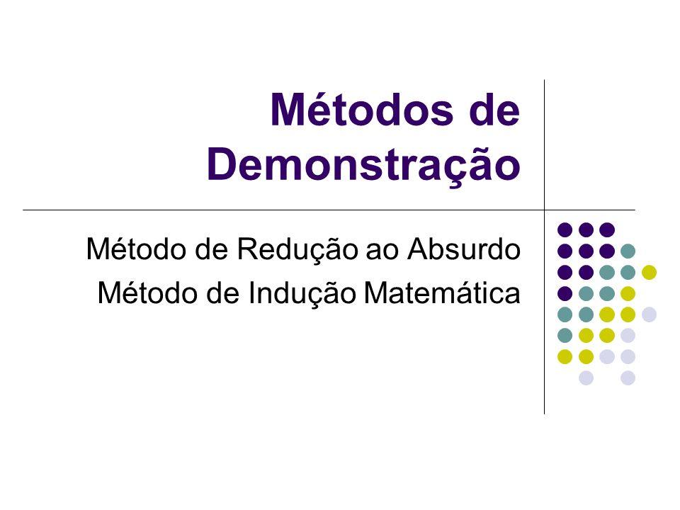 Métodos de Demonstração Método de Redução ao Absurdo Método de Indução Matemática