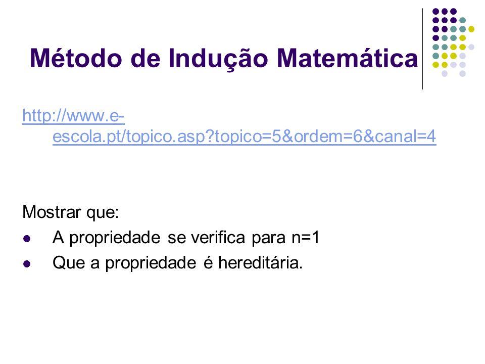 Método de Indução Matemática http://www.e- escola.pt/topico.asp?topico=5&ordem=6&canal=4 Mostrar que: A propriedade se verifica para n=1 Que a proprie