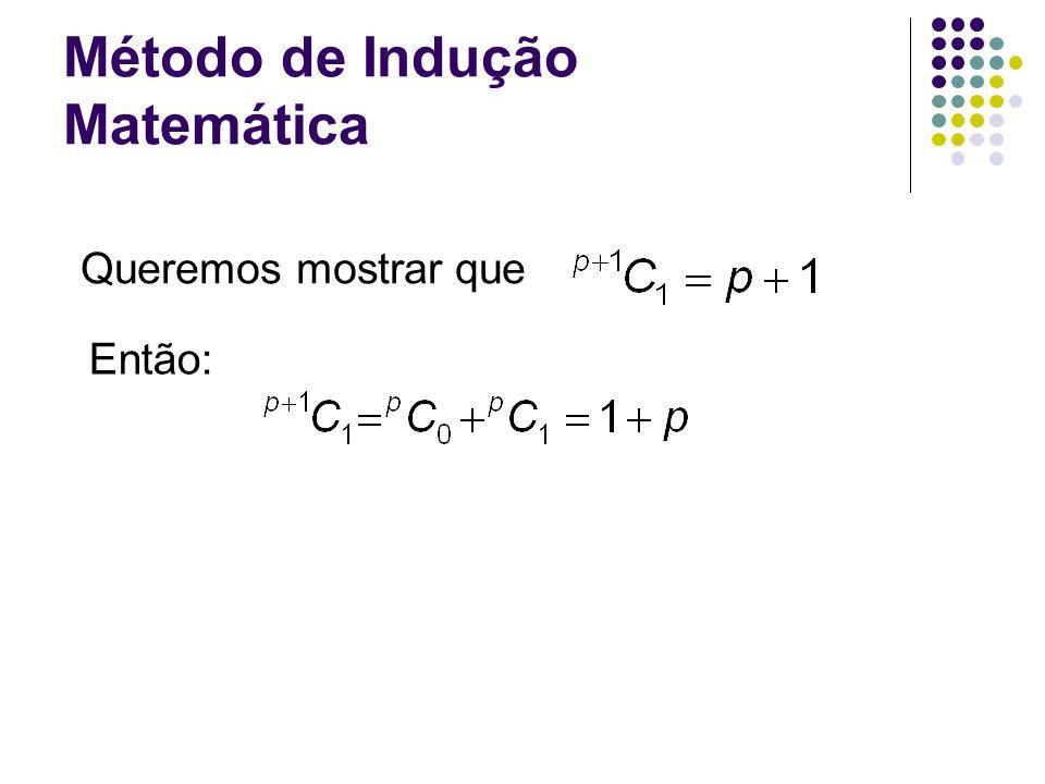 Método de Indução Matemática Queremos mostrar que Então: