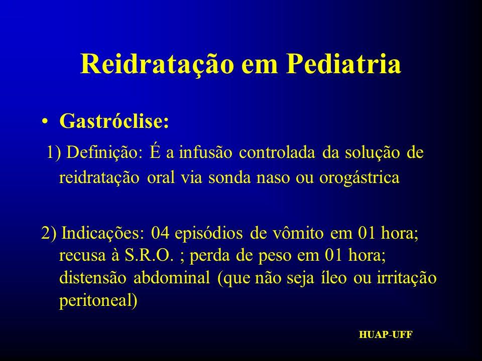HUAP-UFF Reidratação em Pediatria Gastróclise: Fórmula : 0,25ml/Kg/min (vômitos) 0,5ml/Kg/min 1,0ml/Kg/min (se tudo OK)