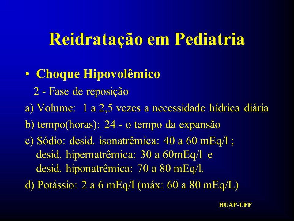 HUAP-UFF Reidratação em Pediatria Necessidade Hídrica Diária Até 10 Kg: 100ml/Kg/dia De 10 até 20Kg: 1000ml + 50x cada Kg > 10 Acima de 20Kg: 1500ml + 20 x cada Kg > 20 ou 1500 a 1800ml/m 2 de superfície corporal Sc = (peso x4) + 7 peso + 90