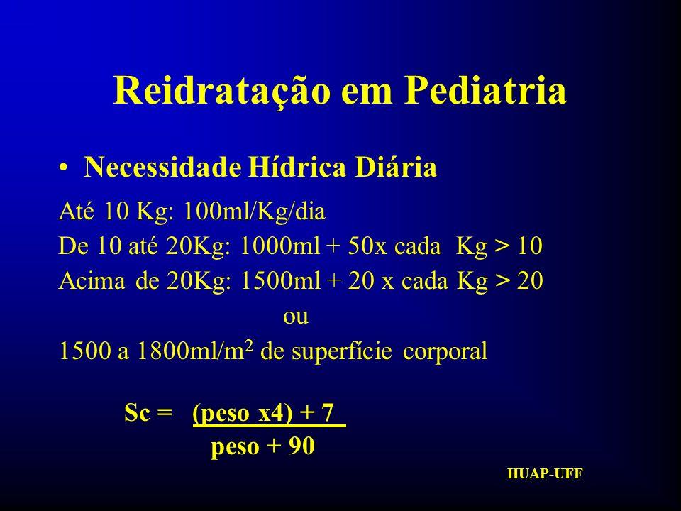 HUAP-UFF Reidratação em Pediatria Rotina do serviço: de 01 a 06 meses: 150ml/kg/dia de 06 meses a 01 ano: 140ml/kg/dia 01 aos 10anos: 140 - ( idade x 10) ml/kg/dia acima de 10 anos: 40 ml/kg/dia