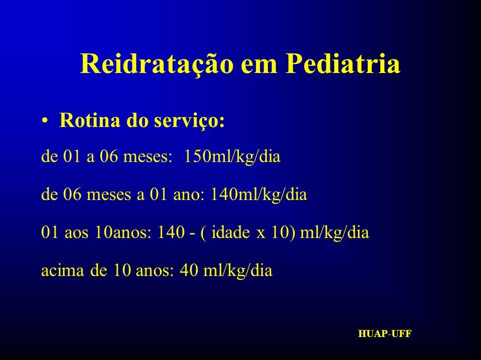 HUAP-UFF Reidratação em Pediatria Soro Caseiro: - UM LITRO DE ÁGUA FILTRADA E FERVIDA POR CINCO MINUTOS - UMA COLHER DA DE CAFÉ, RASA DE SAL - DUAS COLHERES DAS DE SOPA DE AÇÚCAR - DURABILIDADE: 24 HORAS