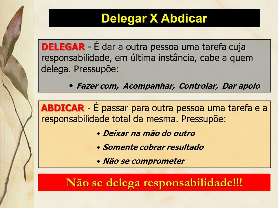 Delegar X Abdicar DELEGAR DELEGAR - É dar a outra pessoa uma tarefa cuja responsabilidade, em última instância, cabe a quem delega. Pressupõe: Fazer c