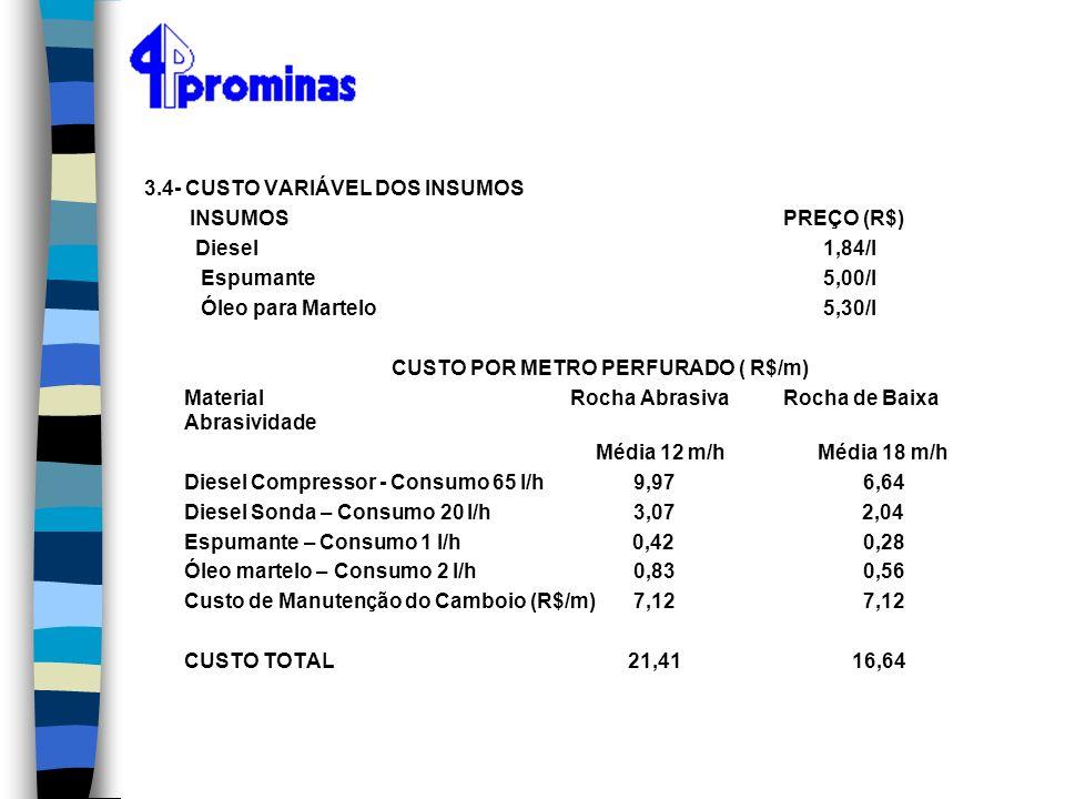 3.4- CUSTO VARIÁVEL DOS INSUMOS INSUMOSPREÇO (R$) Diesel 1,84/l Espumante 5,00/l Óleo para Martelo 5,30/l CUSTO POR METRO PERFURADO ( R$/m) MaterialRo