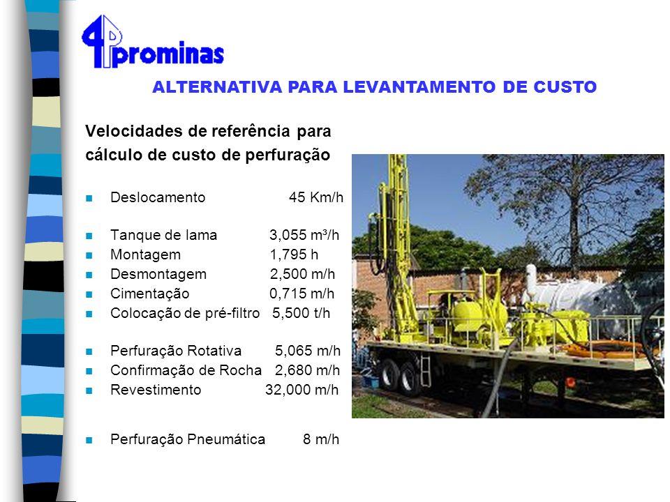 Velocidades de referência para cálculo de custo de perfuração n Deslocamento 45 Km/h n Tanque de lama 3,055 m³/h n Montagem 1,795 h n Desmontagem 2,50