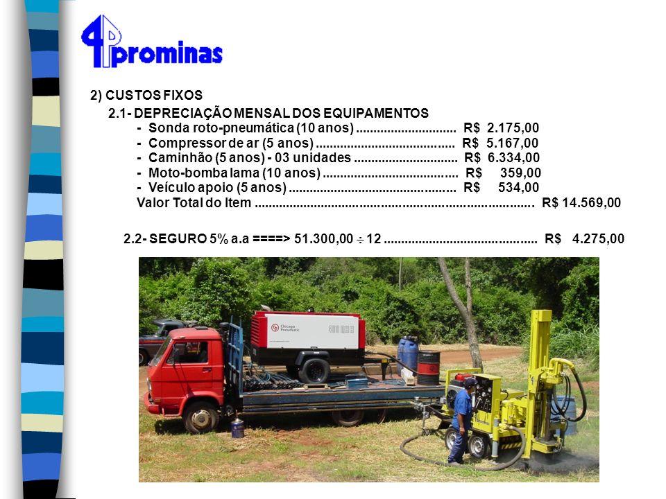 2) CUSTOS FIXOS 2.1- DEPRECIAÇÃO MENSAL DOS EQUIPAMENTOS - Sonda roto-pneumática (10 anos)............................. R$ 2.175,00 - Compressor de ar