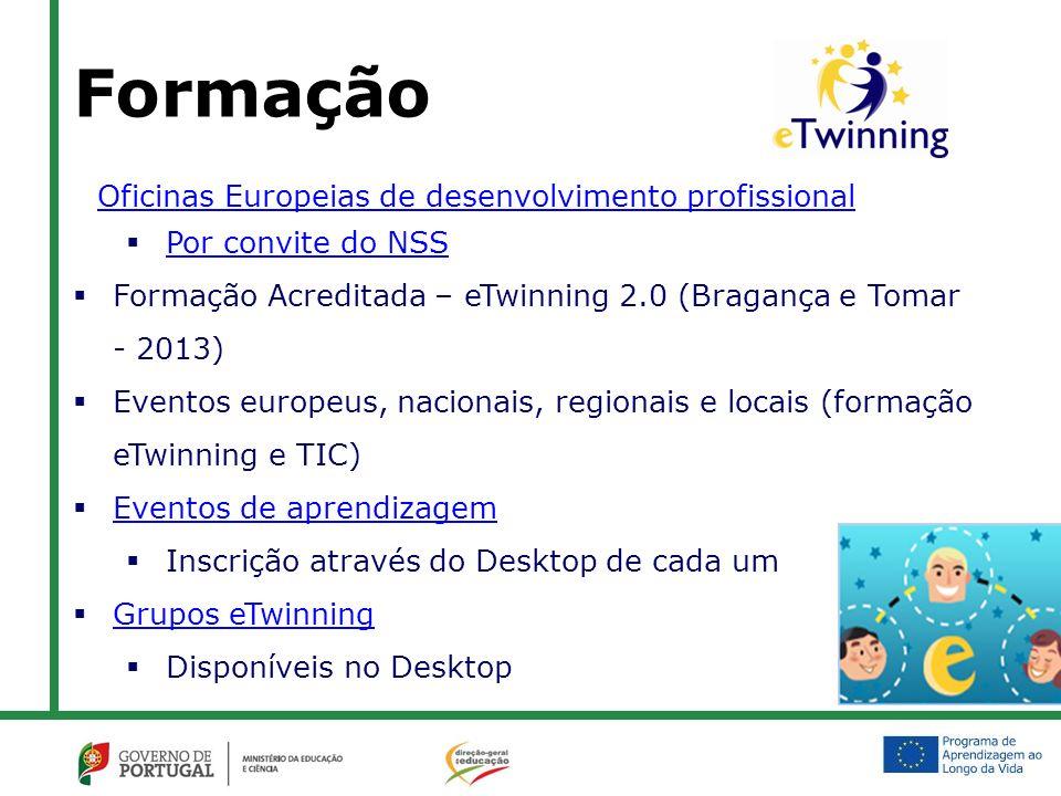 Formação Oficinas Europeias de desenvolvimento profissional Por convite do NSS Formação Acreditada – eTwinning 2.0 (Bragança e Tomar - 2013) Eventos europeus, nacionais, regionais e locais (formação eTwinning e TIC) Eventos de aprendizagem Inscrição através do Desktop de cada um Grupos eTwinning Disponíveis no Desktop