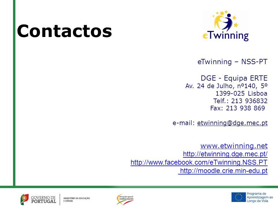 eTwinning – NSS-PT DGE - Equipa ERTE Av. 24 de Julho, nº140, 5º 1399-025 Lisboa Telf.: 213 936832 Fax: 213 938 869 e-mail: etwinning@dge.mec.pt www.et