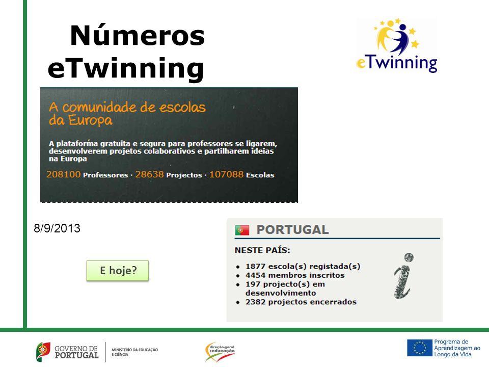 Números eTwinning 8/9/2013 E hoje