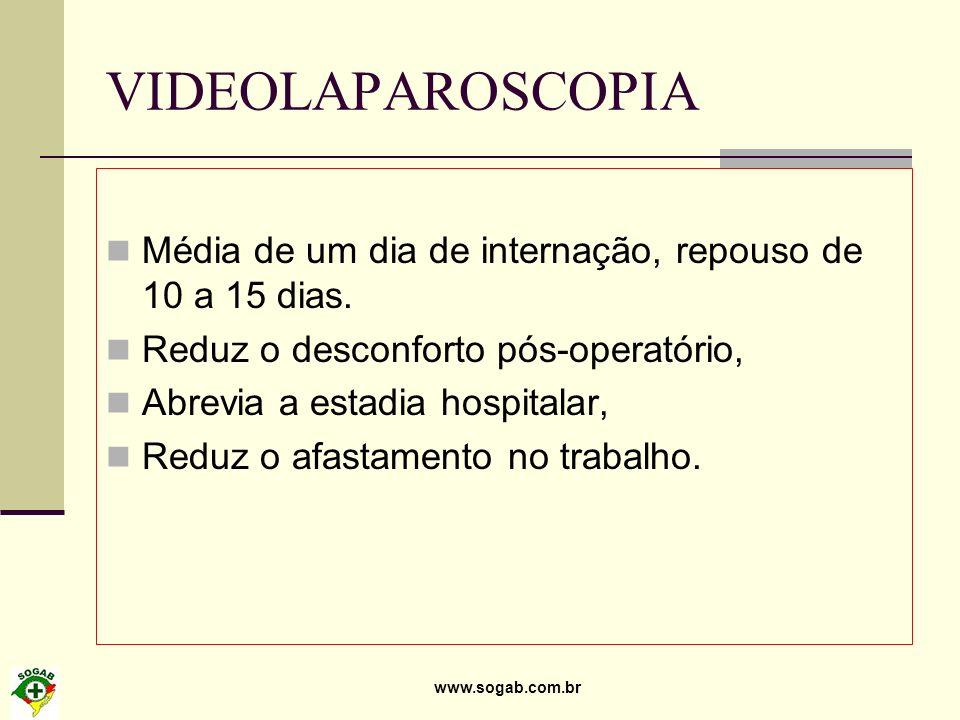 www.sogab.com.br VIDEOLAPAROSCOPIA Média de um dia de internação, repouso de 10 a 15 dias. Reduz o desconforto pós-operatório, Abrevia a estadia hospi