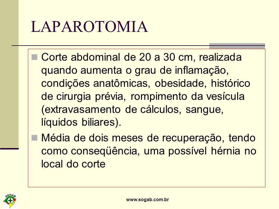 www.sogab.com.br LAPAROTOMIA Corte abdominal de 20 a 30 cm, realizada quando aumenta o grau de inflamação, condições anatômicas, obesidade, histórico