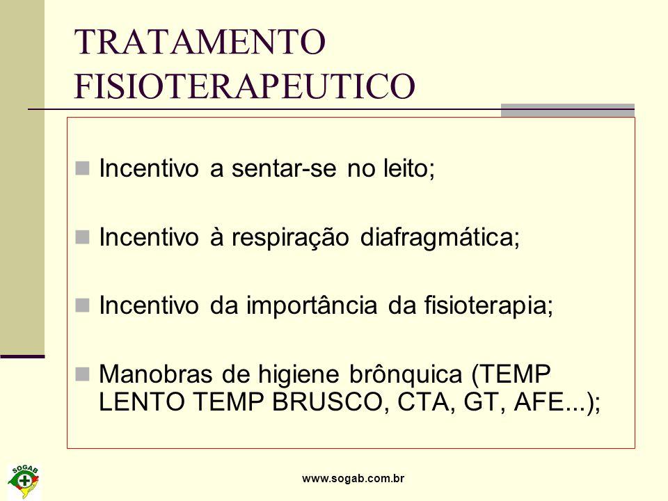 www.sogab.com.br TRATAMENTO FISIOTERAPEUTICO Incentivo a sentar-se no leito; Incentivo à respiração diafragmática; Incentivo da importância da fisiote