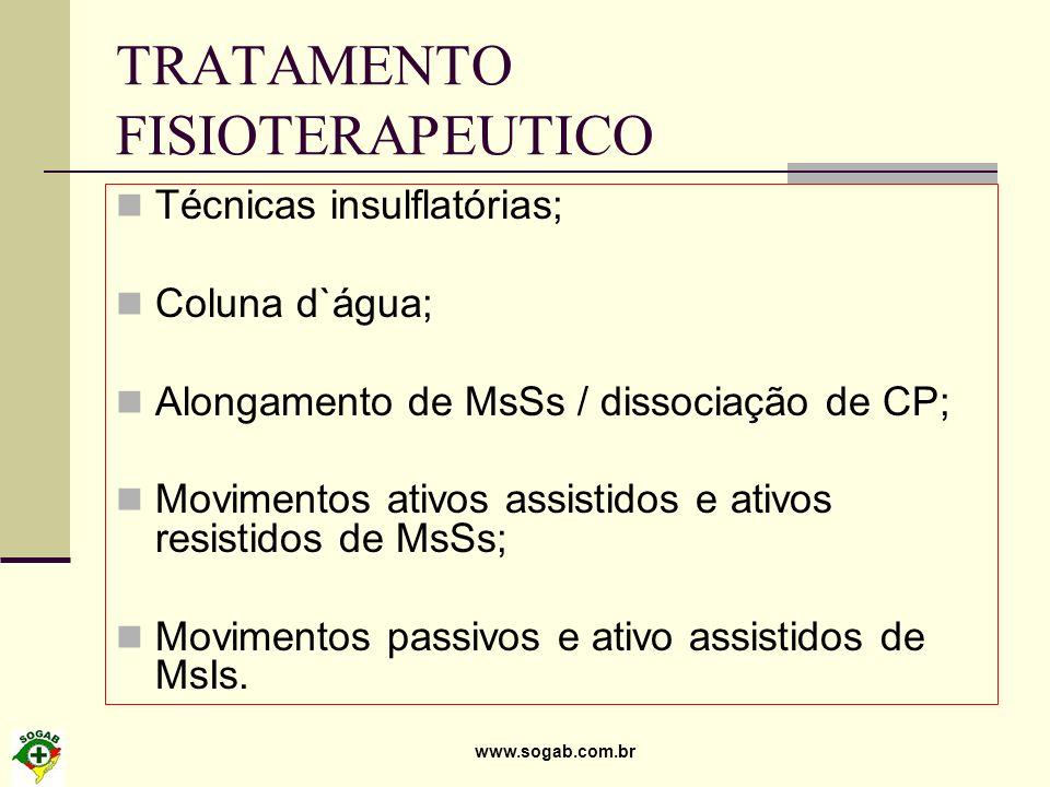 www.sogab.com.br TRATAMENTO FISIOTERAPEUTICO Técnicas insulflatórias; Coluna d`água; Alongamento de MsSs / dissociação de CP; Movimentos ativos assist