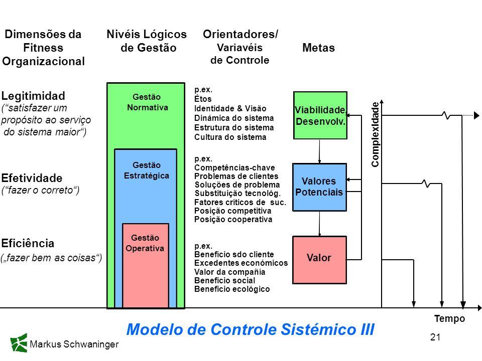 Markus Schwaninger 21 Metas Nivéis Lógicos de Gestão Gestão Normativa Gestão Operativa Valores Potenciais Valor Gestão Estratégica p.ex. Étos Identida