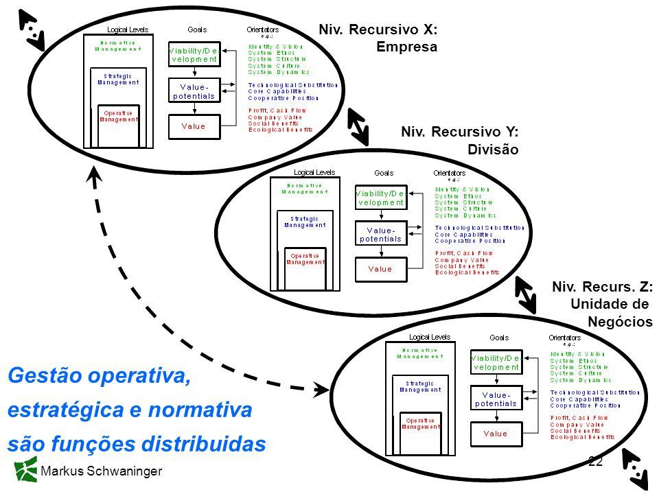 Markus Schwaninger 22 Gestão operativa, estratégica e normativa são funções distribuidas Niv. Recursivo X: Empresa Niv. Recursivo Y: Divisão Niv. Recu