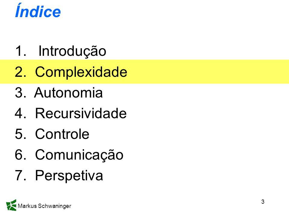 Markus Schwaninger 3 Índice 1.Introdução 2. Complexidade 3. Autonomia 4. Recursividade 5. Controle 6. Comunicação 7. Perspetiva