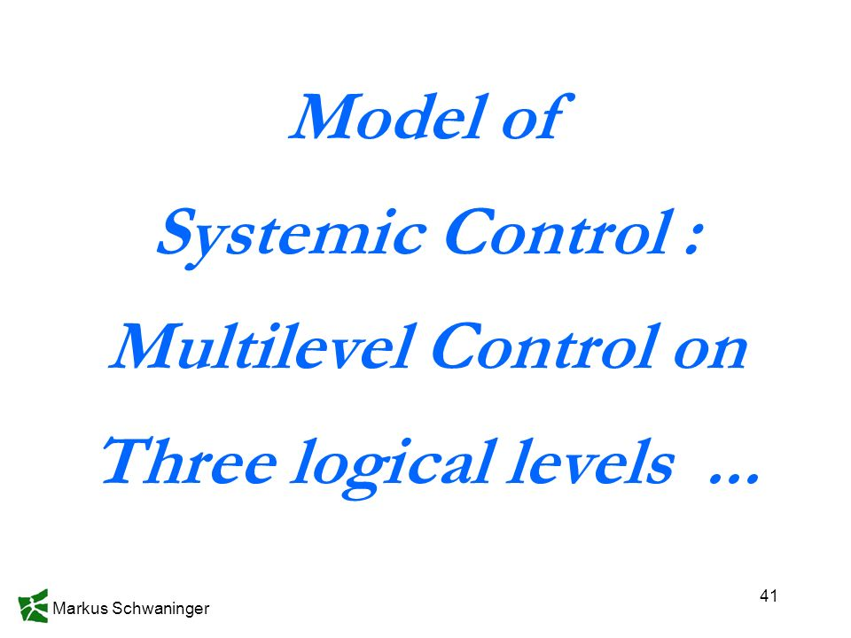 Markus Schwaninger 41 Model of Systemic Control : Multilevel Control on Three logical levels...