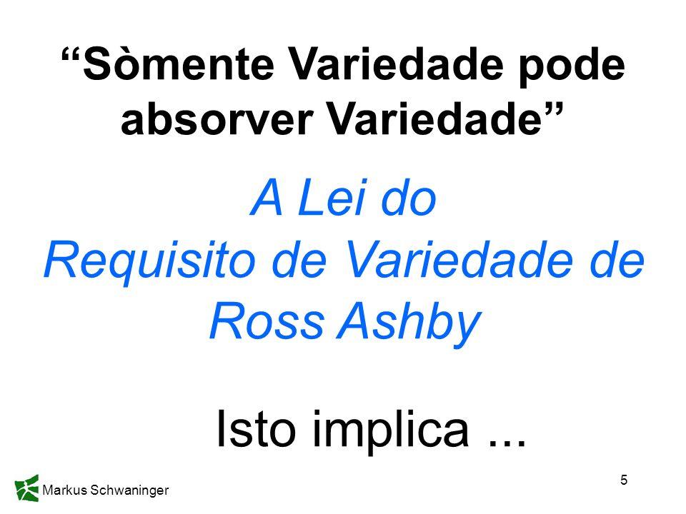 Markus Schwaninger 5 Sòmente Variedade pode absorver Variedade A Lei do Requisito de Variedade de Ross Ashby Isto implica...
