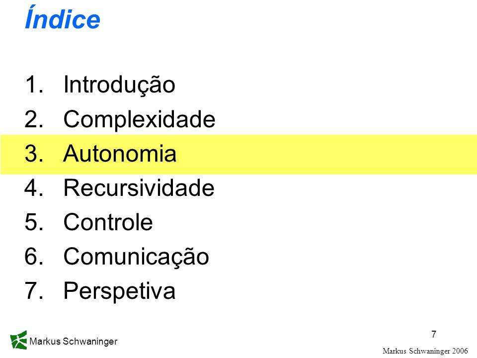 Markus Schwaninger 7 Índice 1.Introdução 2.Complexidade 3.Autonomia 4.Recursividade 5.Controle 6.Comunicação 7.Perspetiva Markus Schwaninger 2006