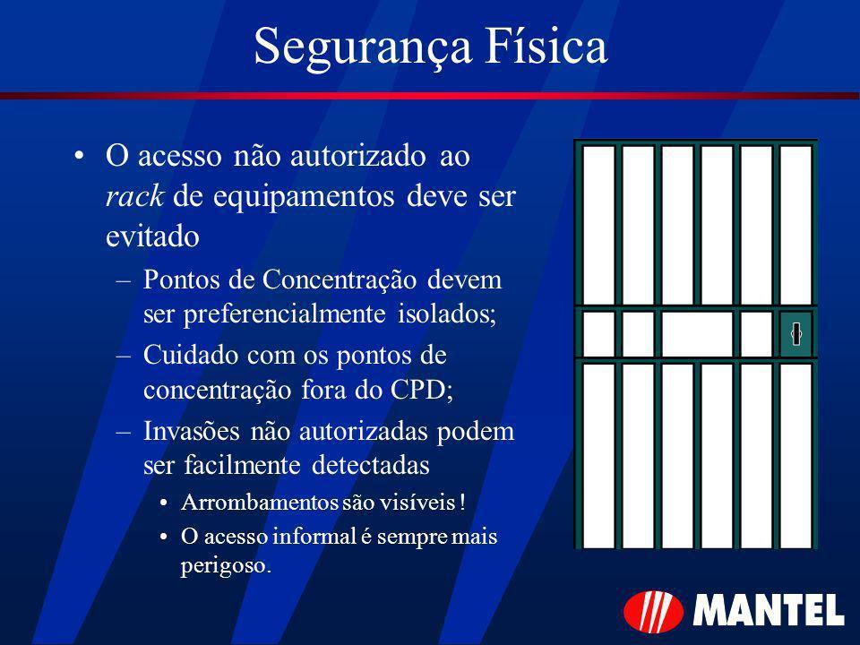 Segurança Física O acesso não autorizado ao rack de equipamentos deve ser evitado –Pontos de Concentração devem ser preferencialmente isolados; –Cuida
