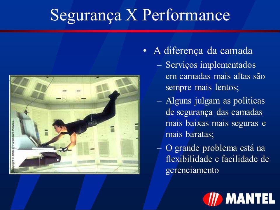 Segurança X Performance A diferença da camada –Serviços implementados em camadas mais altas são sempre mais lentos; –Alguns julgam as políticas de segurança das camadas mais baixas mais seguras e mais baratas; –O grande problema está na flexibilidade e facilidade de gerenciamento