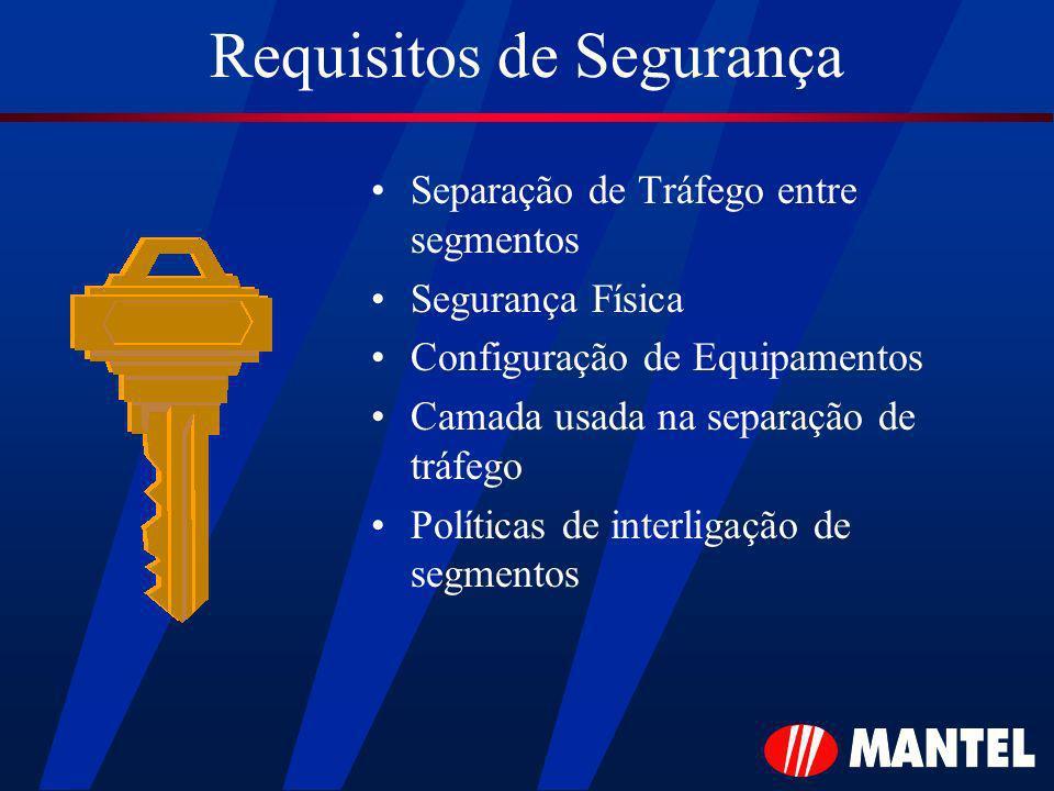 Requisitos de Segurança Separação de Tráfego entre segmentos Segurança Física Configuração de Equipamentos Camada usada na separação de tráfego Políti