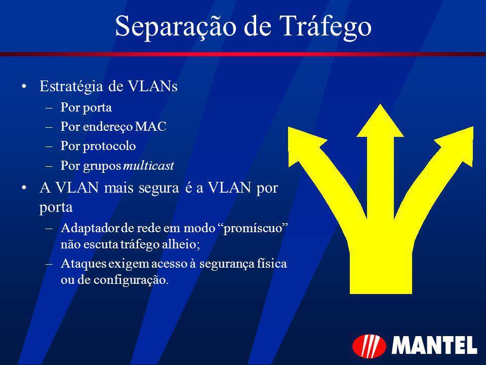 Separação de Tráfego Estratégia de VLANs –Por porta –Por endereço MAC –Por protocolo –Por grupos multicast A VLAN mais segura é a VLAN por porta –Adap