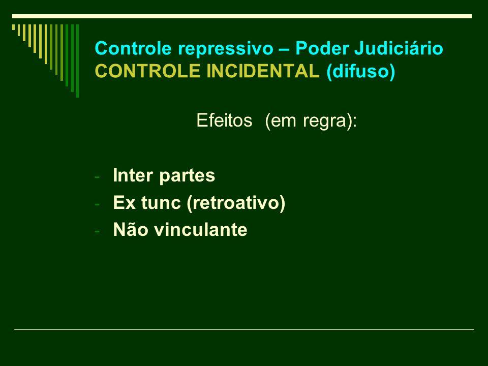 Controle repressivo – Poder Judiciário CONTROLE INCIDENTAL (difuso) Efeitos (em regra): - Inter partes - Ex tunc (retroativo) - Não vinculante