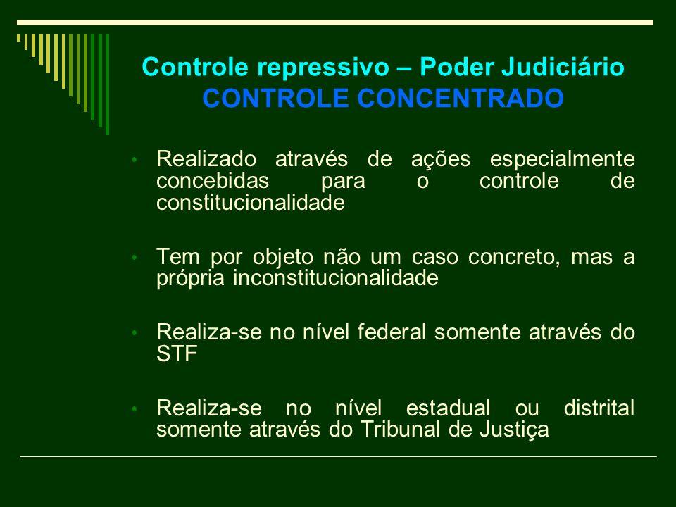 Controle repressivo – Poder Judiciário CONTROLE CONCENTRADO Realizado através de ações especialmente concebidas para o controle de constitucionalidade