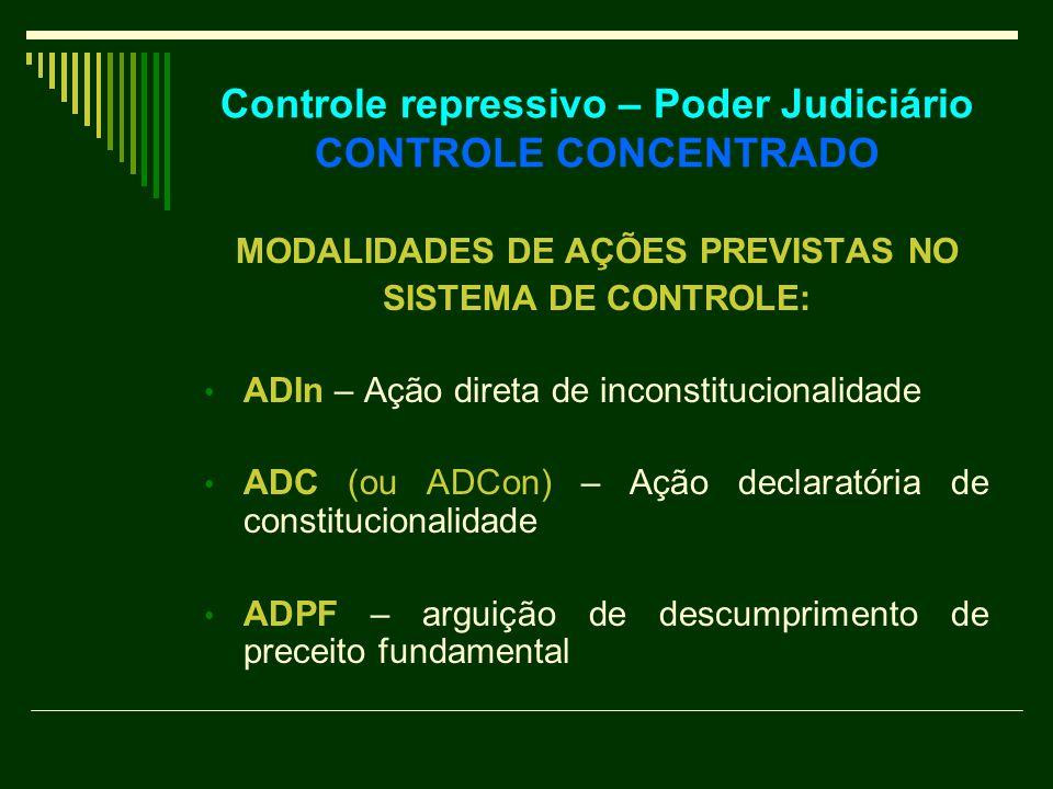 Controle repressivo – Poder Judiciário CONTROLE CONCENTRADO MODALIDADES DE AÇÕES PREVISTAS NO SISTEMA DE CONTROLE: ADIn – Ação direta de inconstitucio