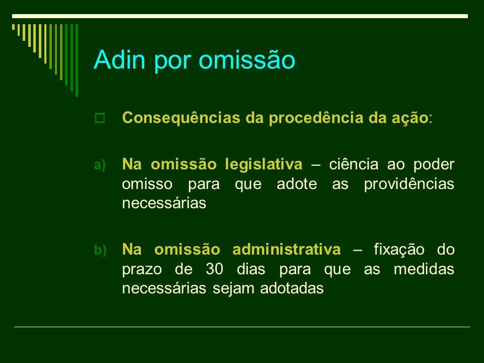 Adin por omissão Consequências da procedência da ação: a) Na omissão legislativa – ciência ao poder omisso para que adote as providências necessárias
