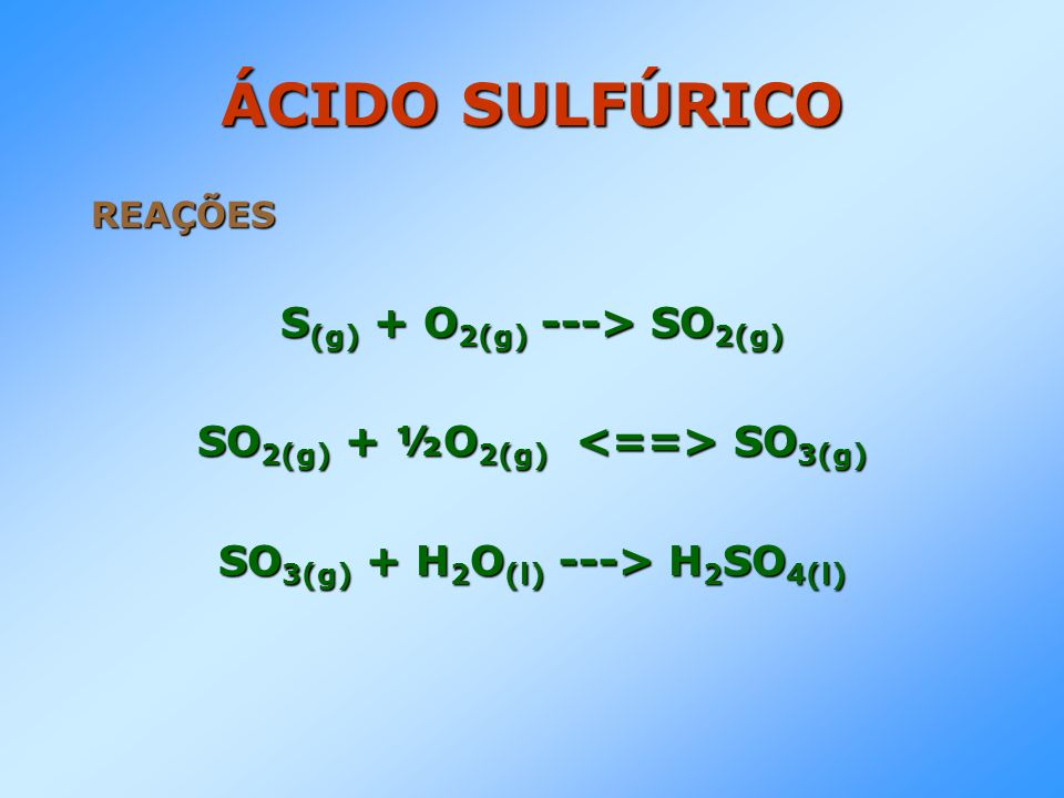 ÁCIDO SULFÚRICO REAÇÕES S (g) + O 2(g) ---> SO 2(g) SO 2(g) + ½O 2(g) SO 3(g) SO 3(g) + H 2 O (l) ---> H 2 SO 4(l)