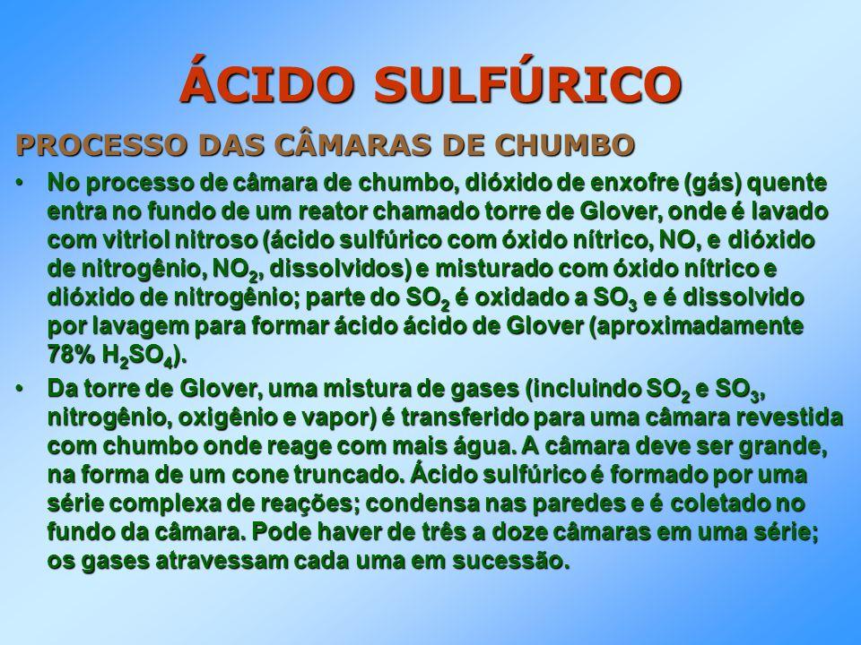 ÁCIDO SULFÚRICO PROCESSO DAS CÂMARAS DE CHUMBO No processo de câmara de chumbo, dióxido de enxofre (gás) quente entra no fundo de um reator chamado to
