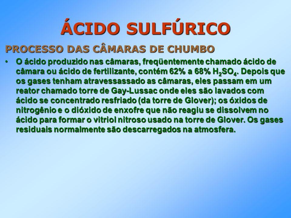 ÁCIDO SULFÚRICO PROCESSO DAS CÂMARAS DE CHUMBO O ácido produzido nas câmaras, freqüentemente chamado ácido de câmara ou ácido de fertilizante, contém