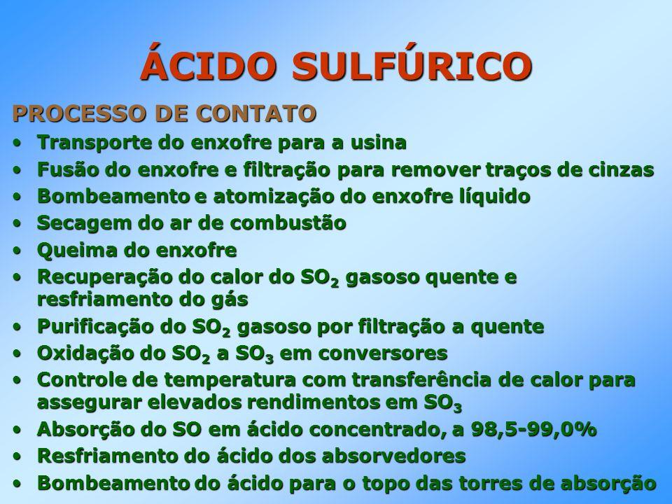ÁCIDO SULFÚRICO PROCESSO DE CONTATO Transporte do enxofre para a usinaTransporte do enxofre para a usina Fusão do enxofre e filtração para remover tra