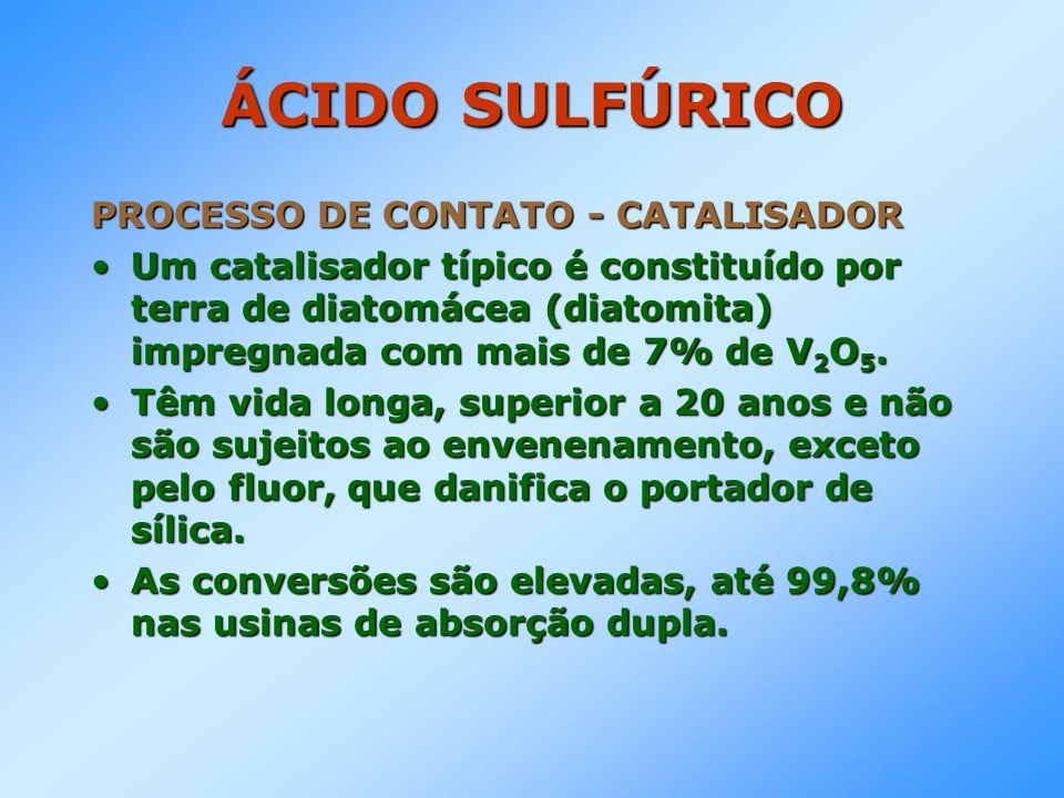 ÁCIDO SULFÚRICO PROCESSO DE CONTATO - CATALISADOR Um catalisador típico é constituído por terra de diatomácea (diatomita) impregnada com mais de 7% de
