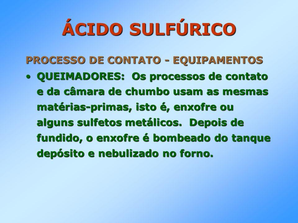 ÁCIDO SULFÚRICO PROCESSO DE CONTATO - EQUIPAMENTOS QUEIMADORES: Os processos de contato e da câmara de chumbo usam as mesmas matérias-primas, isto é,